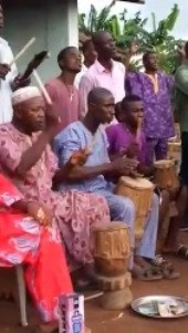 Drummers showing their dexterity during the Masquerade dance.