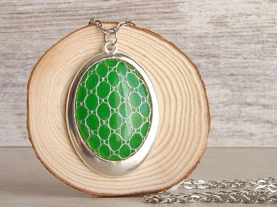 Colgante Lindy con cristal verde y encaje HALAS