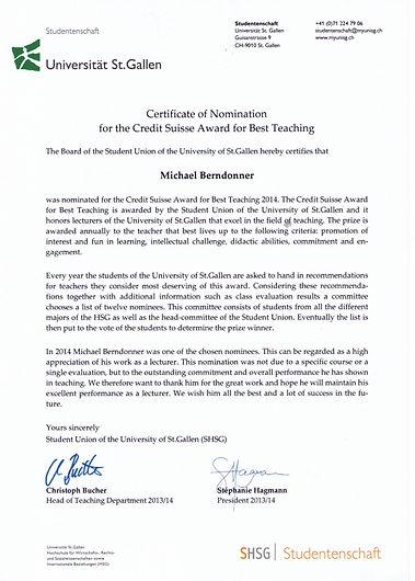 Certificate Best Teaching-Award_UNI_SG.j