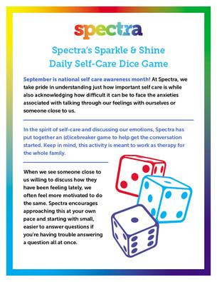 Spectra's Sparkle & Shine Self-Care Dice Game