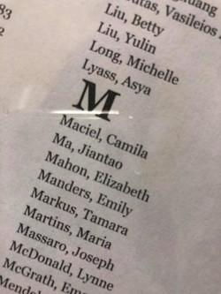 My name at Framingham Heart wall