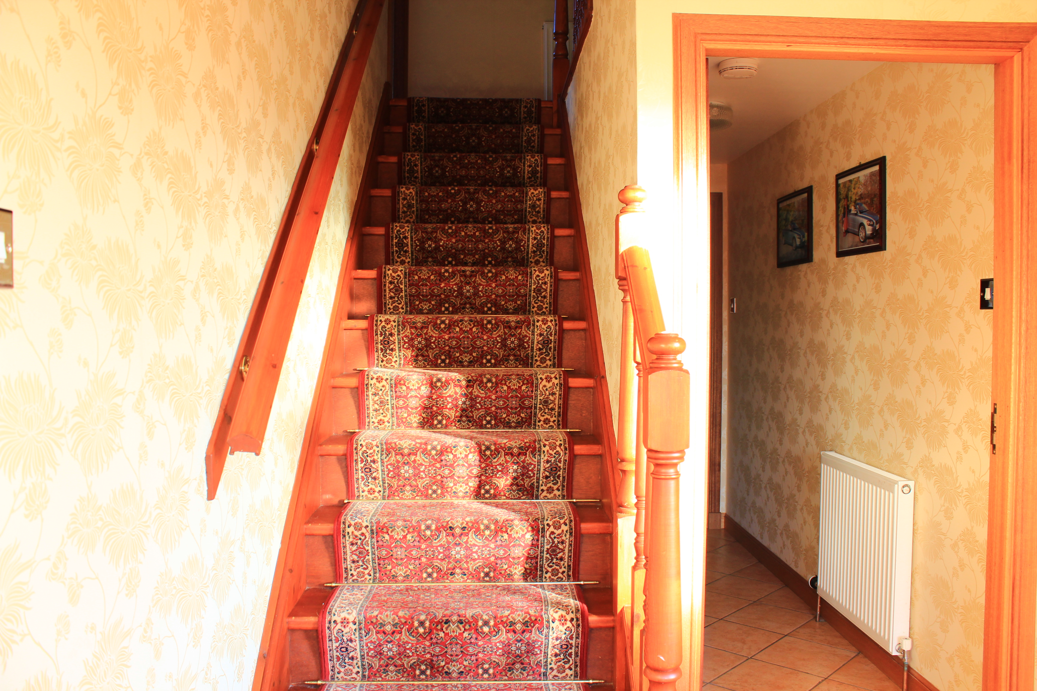 Stairs up to rooms