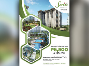 Serin East Tagaytay Tower 3 Payable Up to 60 months with 10% Local Buyers Discounts!