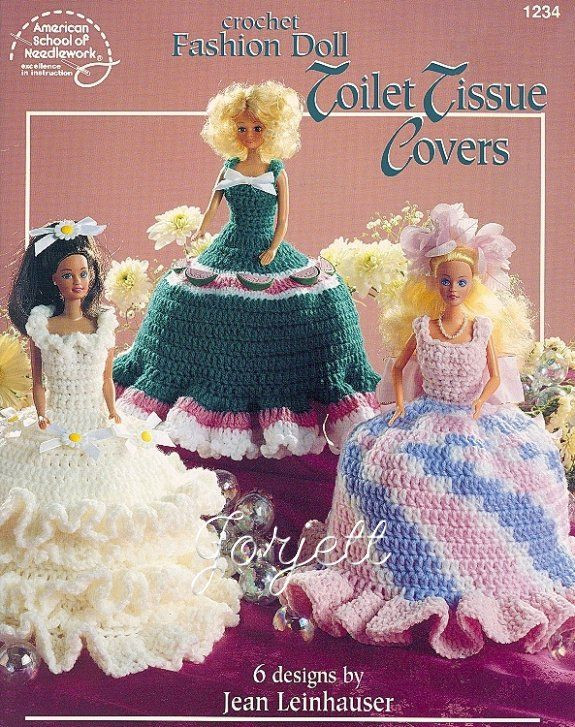Crocheted toilet paper cover dolls