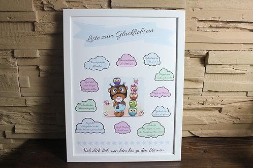 """""""Liste zum Glücklichsein"""" Kinder Poster A3 MIT Rahmen"""