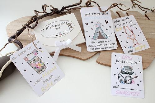 36 Meilensteinkarten lustig, Baby Meilensteine, Geschenk zur Geburt, Geschenkset