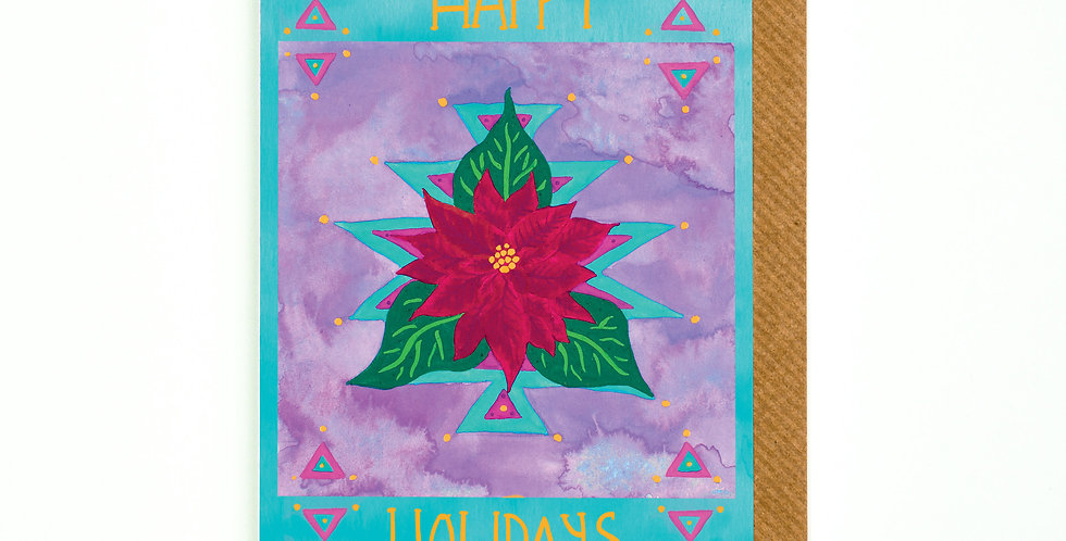 Happy Holidays Festive Poinsettia Card