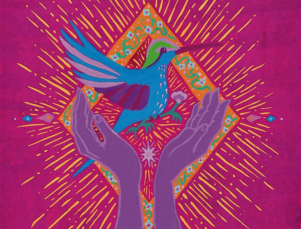 Hummingbird Hands Folk Illustration