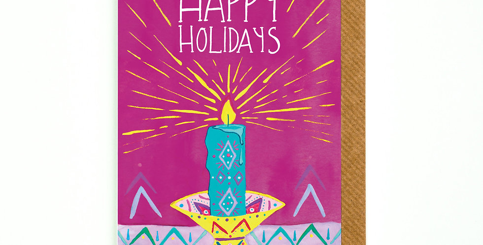 Happy Holidays Festive Candle Card