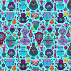 Hand drawn surface pattern design of many different tessellating pots and vases in bright jewel colours.