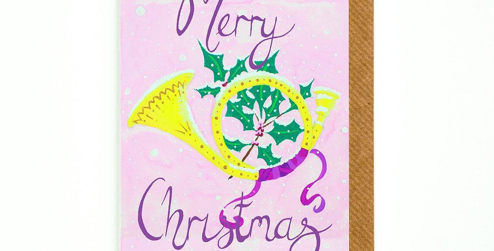 Merry Christmas Horn Card