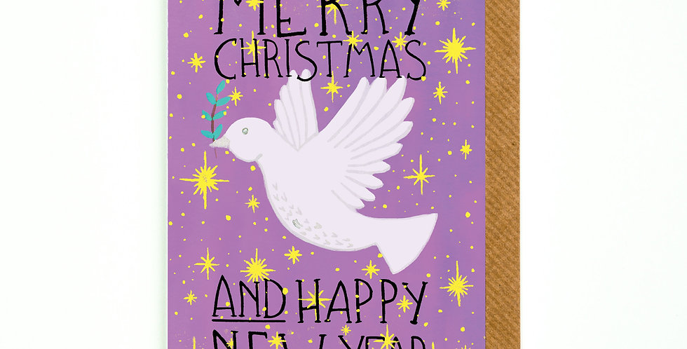 Merry Christmas and Happy New Year Dove of Peace Card