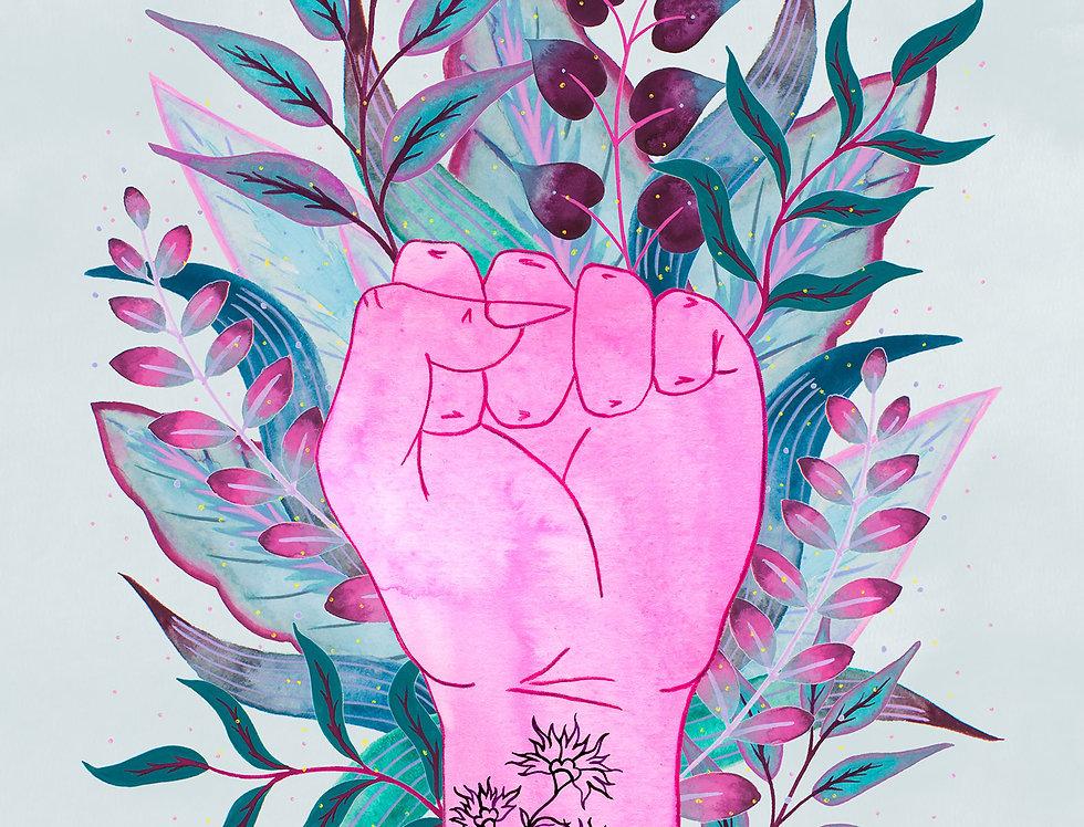 Tattooed Raised Fist + Leaves