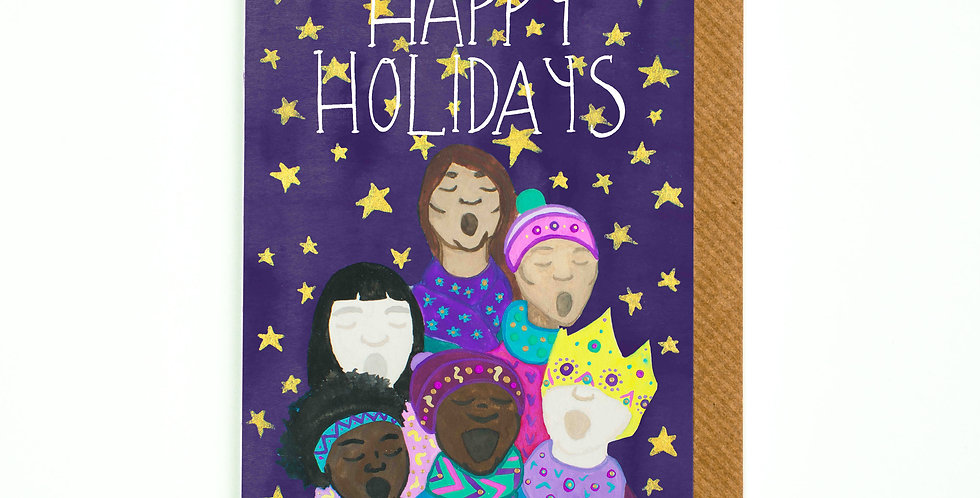Happy Holidays Carollers Card