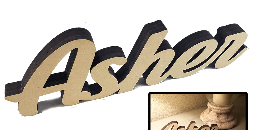 "Custom Name Wood Decor ""3D Text"""