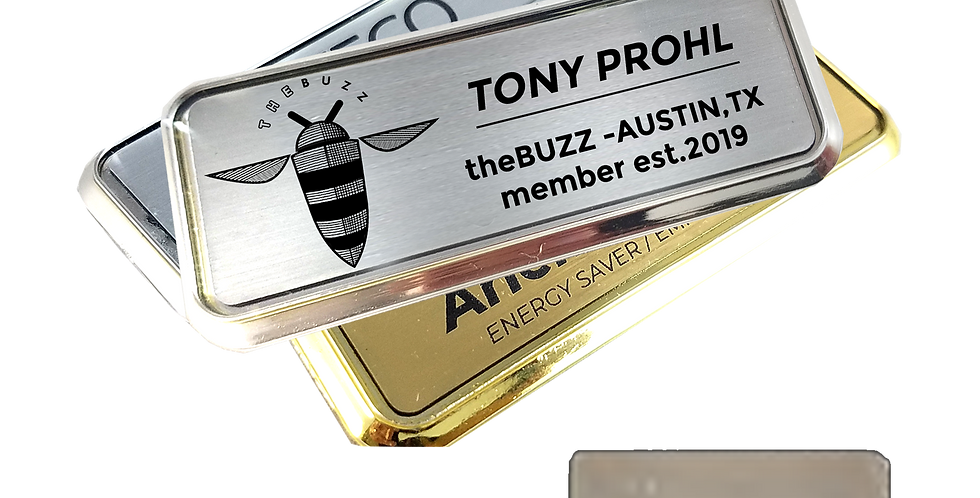 BUZZ/WAYMAKERS Laser Engraved Name Tag (Silver or Gold)