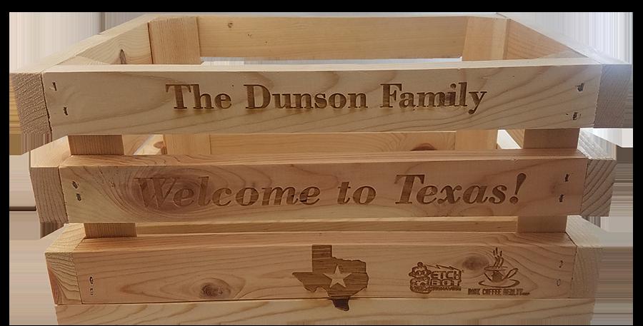 "Custom Etched Wood Decor ""Crate"""