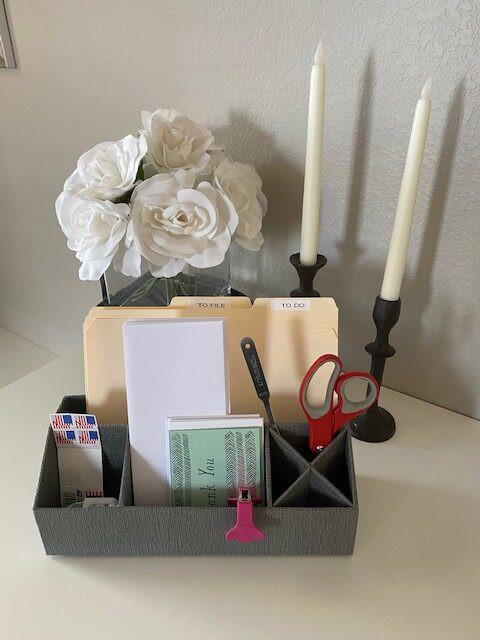 Desktop organizer on desk