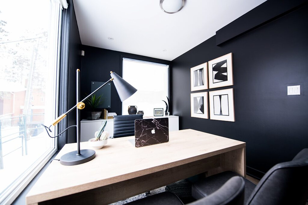 desk under a window