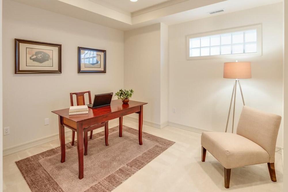 desk in room on a rug