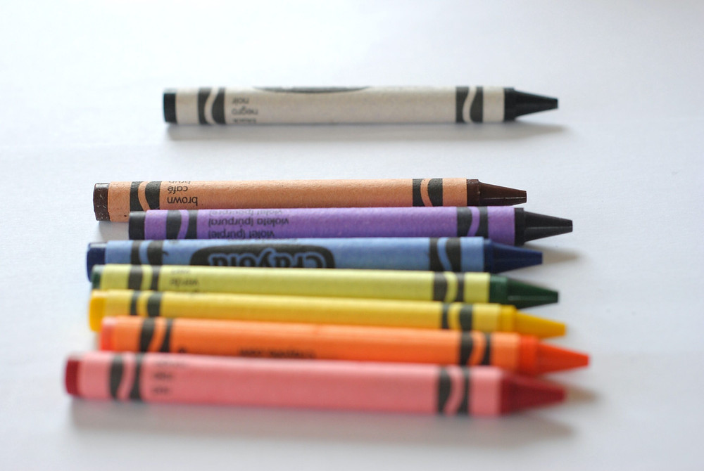 crayons of a desk