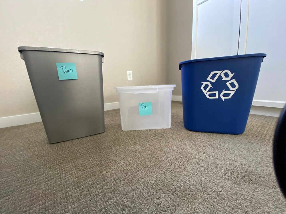 recycle bins on floor