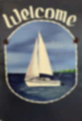 Hand-Painted, Personalized Sailboat Slate Welcome Sign