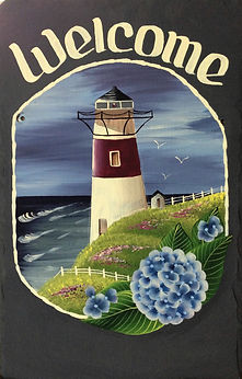 Hand-Painted, Personalized Lighthouse Slate Welcome Sign