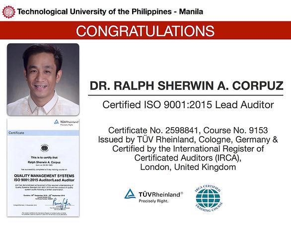 TUPM QMR Passes IRCA ISO 9001:2015 Lead Auditor Certification