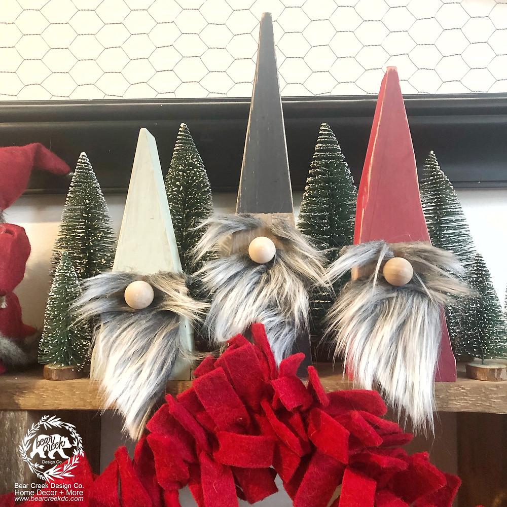 DIY Christmas Gnomes made from wood.