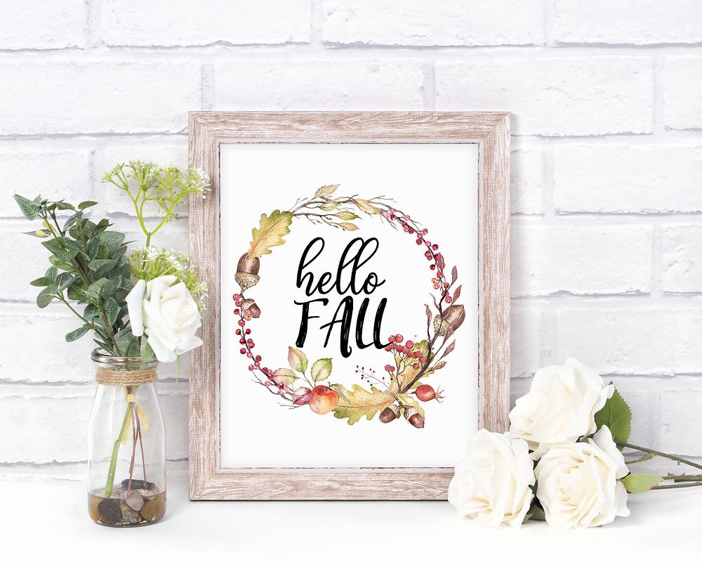 hello fall wreath sign