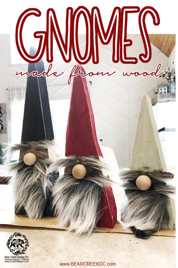 DIY Christmas gnomes made from wood