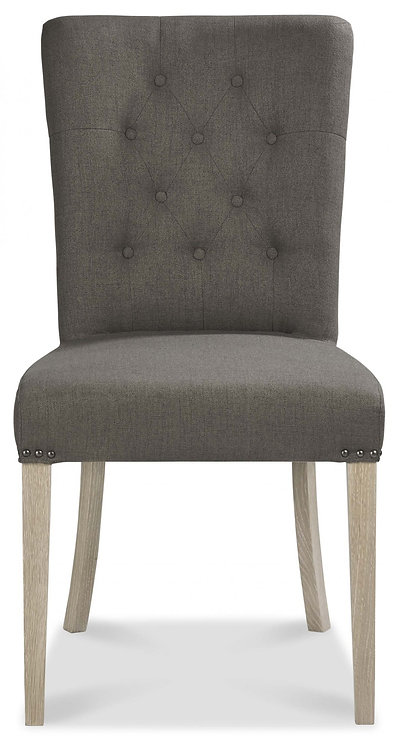 Bordeaux Chalk Oak Upholstered Chair - Titanium Fabric (Pair)