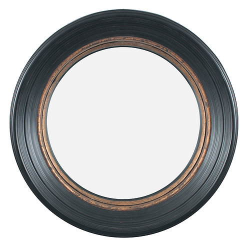 Black & Gold Polyresin Round Convex Mirror Small