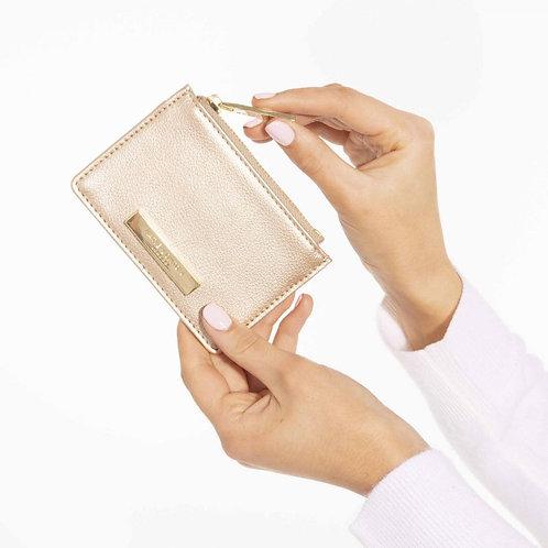 Katie Loxton Soft Pebble Alise Card Holder Metallic Champagne