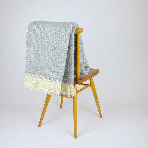 Soft Grey Illusion Pure New Wool Sand Blanket
