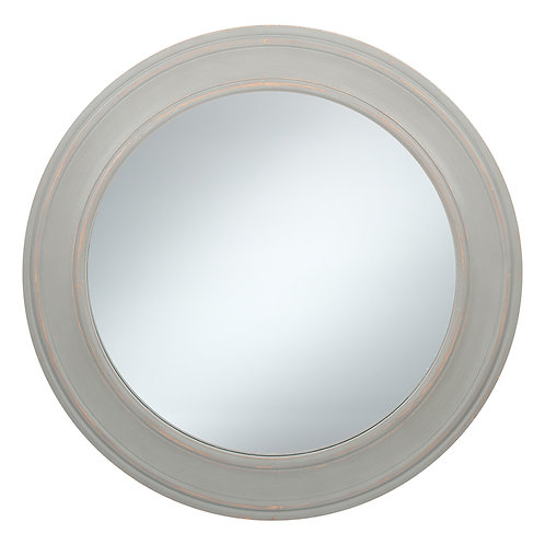 Washed Grey Wood Round Wall Mirror Small