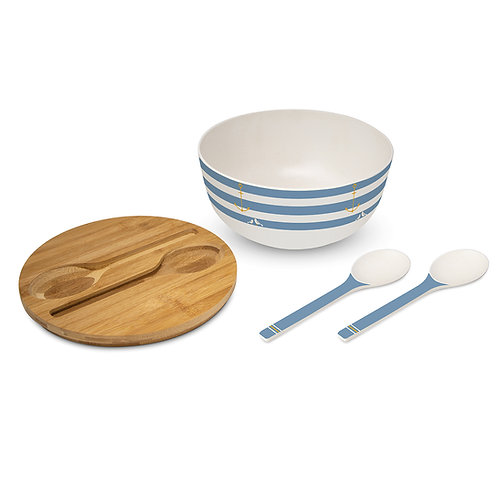 Beach Salad Bowl Set Made Of Bamboo