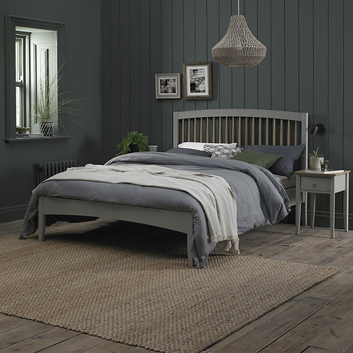 Whitby Scandi Oak & Grey Low Footend Bedstead King Size 150cm