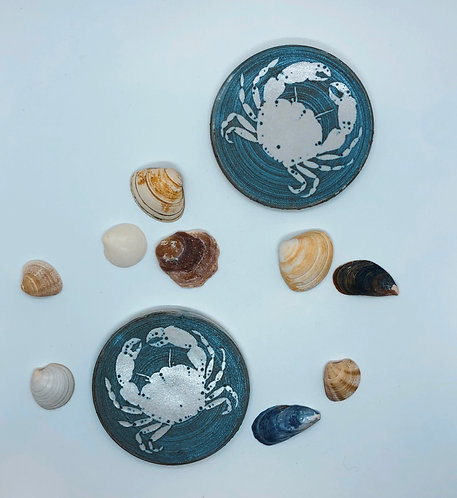 Coastal Hand Crafted Pottery Crab Collection Coaster