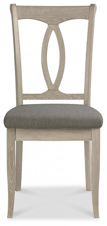 Bordeaux Chalk Oak Slat Dining Chair - Titanium Fabric (Pair)