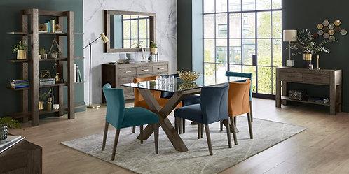 Turin Dark Oak Glass Top Dining Table
