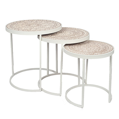 Antique White & Cream Wood & Iron Set of 3 Side Tables