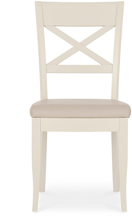 Montreux Antique White X Back Chair - Ivory Bonded Leather (Pair)