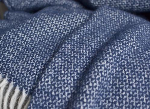 Slate Blue Illusion Pure New Wool Sand Blanket