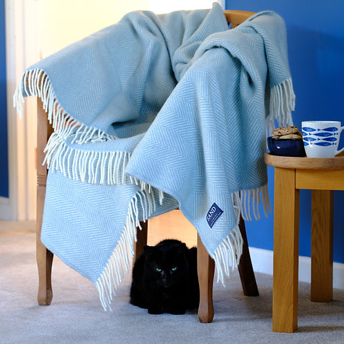Duck Egg Blue Fishbone Pure New Wool Sand Blanket