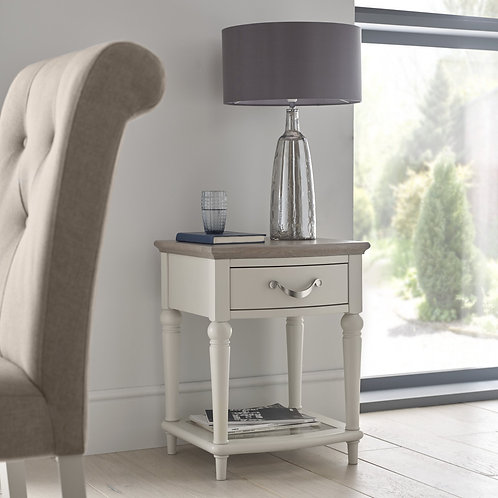 Montreux Grey Washed Oak & Soft Grey Lamp Table With Drawer