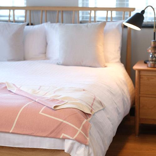 Geometric Pink Organic Cotton  Blanket with Blanket Stitch
