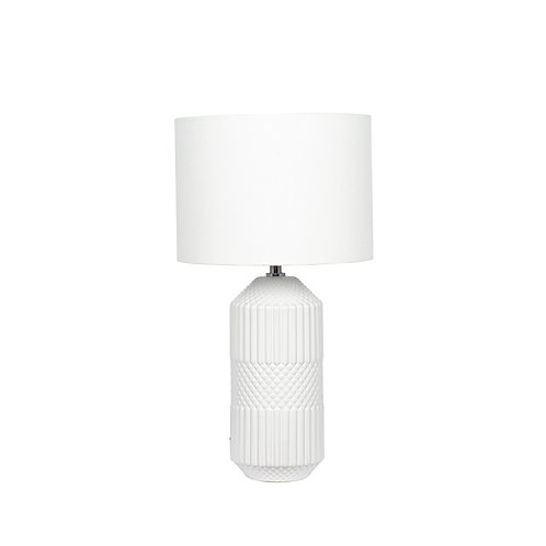 White Embossed Geo Tall Ceramic Table Lamp