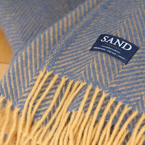 Herringbone Navy & Mustard Illusion Pure New Wool Sand Blanket